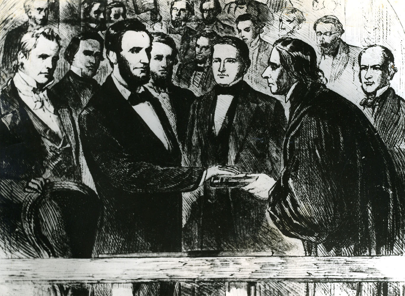 WASHINGTON, D.C. -- March 4, 1865 -- Abraham Lincoln's second Inauguration. Photograph from a painting of the second Inauguration of Abraham Lincoln as President of the United States. Mr. Lincoln is seen taking the oath of office at his Inaugural. Photo by unknown/file photo (daily folder 01/11/09) MANDATORY CREDIT: Baltimore Examiner and Washington Examiner OUT